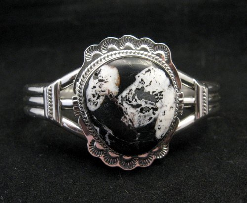 Image 0 of Navajo Native American White Buffalo Sterling Silver Bracelet, John Nelson