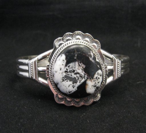 Image 1 of Navajo Native American White Buffalo Sterling Silver Bracelet, John Nelson