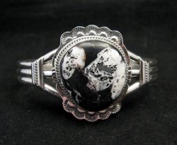 Navajo Native American White Buffalo Sterling Silver Bracelet, John Nelson