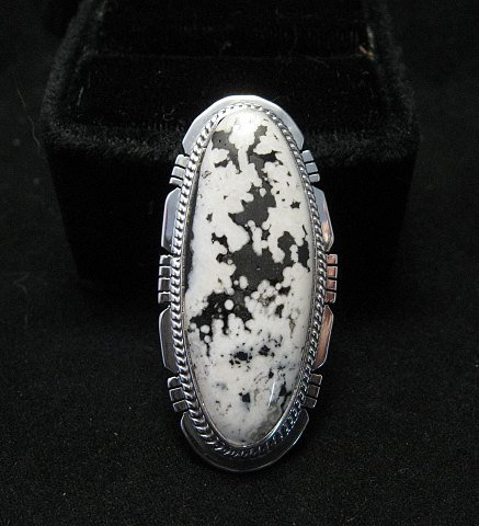 Image 0 of Long Native American Navajo White Buffalo Silver Ring Sz7 Sampson Jake