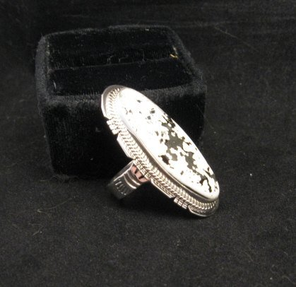 Image 1 of Long Native American Navajo White Buffalo Silver Ring Sz7 Sampson Jake