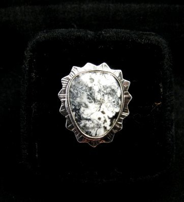 Image 0 of Native American Navajo White Buffalo Silver Ring Sz6