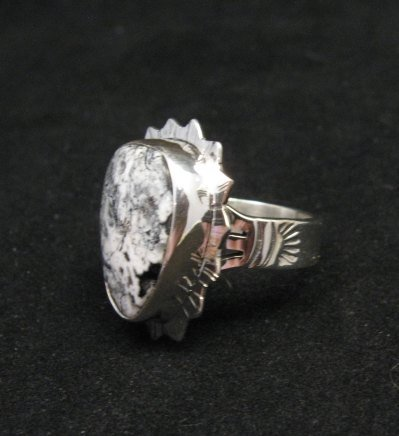 Image 1 of Native American Navajo White Buffalo Silver Ring Sz6