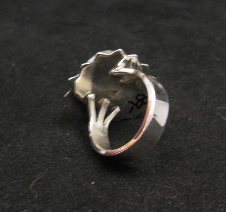 Image 3 of Native American Navajo White Buffalo Silver Ring Sz6
