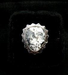 Native American Navajo White Buffalo Silver Ring Sz6