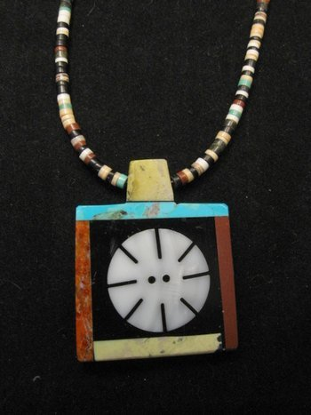 Image 0 of Mary Tafoya Santo Domingo Indian Multi-Stone Inlay Necklace