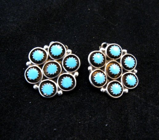 Image 0 of Zuni Turquoise Inlay Round Clip-on Earrings, Booqua