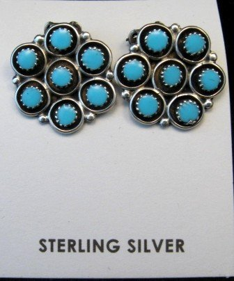 Image 2 of Zuni Turquoise Inlay Round Clip-on Earrings, Booqua