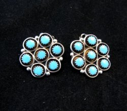 Zuni Turquoise Inlay Round Clip-on Earrings, Booqua