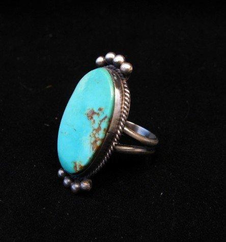 Image 3 of Navajo Native American Turquoise Silver Ring, Selena Warner, sz 6-1/2