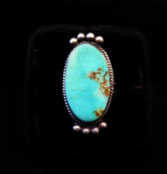 Navajo Native American Turquoise Silver Ring, Selena Warner, sz 6-1/2