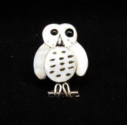 Image 2 of Zuni Indian Ring Snowy Owl Mother-of-Pearl Size 5-1/4, Reginda Kallestewa