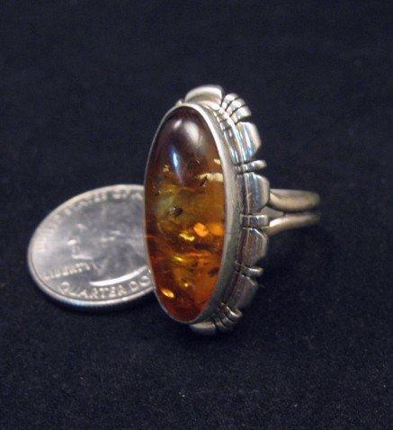 Image 2 of Navajo Native American Amber Sterling Silver Ring sz7, Robert Concho