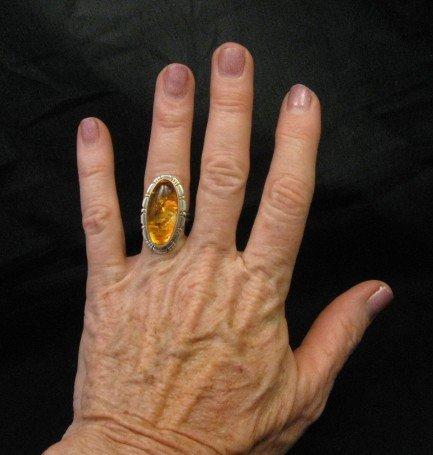 Image 4 of Navajo Native American Amber Sterling Silver Ring sz7, Robert Concho
