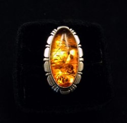 Navajo Native American Amber Sterling Silver Ring sz7, Robert Concho