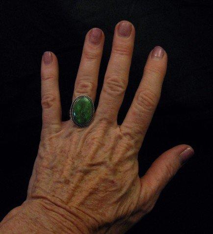 Image 3 of Archie Ganadonegro Navajo Sonoran Turquoise Ring sz7-1/2