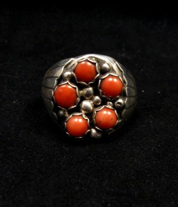 Image 0 of Navajo Indian Coral Sterling Silver Ring sz13-1/2, Marlene Martinez