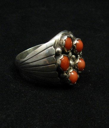 Image 2 of Navajo Indian Coral Sterling Silver Ring sz13-1/2, Marlene Martinez