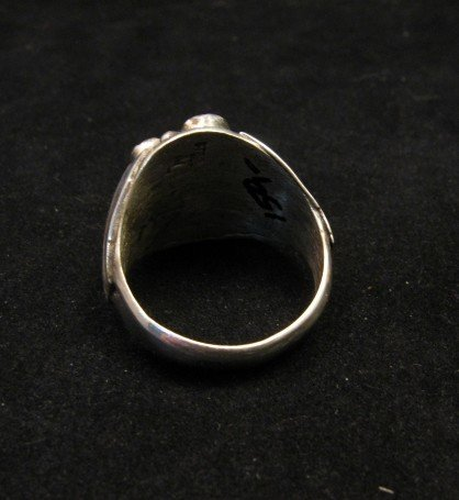 Image 3 of Navajo Indian Coral Sterling Silver Ring sz13-1/2, Marlene Martinez