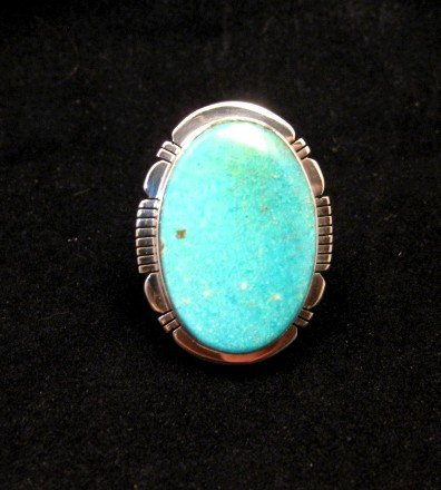 Image 0 of Big Native American Kingman Turquoise Silver Ring sz8-3/4, Phillip Sanchez