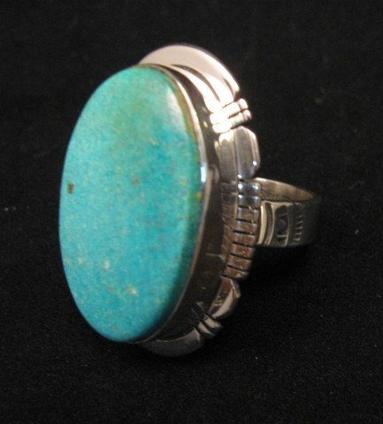 Image 1 of Big Native American Kingman Turquoise Silver Ring sz8-3/4, Phillip Sanchez