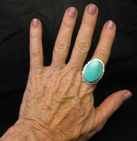 Image 2 of Big Native American Kingman Turquoise Silver Ring sz8-3/4, Phillip Sanchez