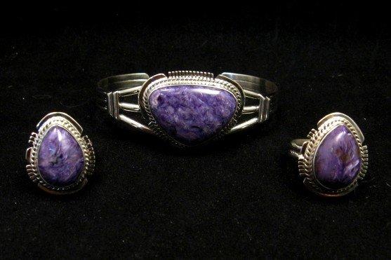 Image 1 of Navajo Native American Purple Charoite Silver Bracelet, Larson L Lee
