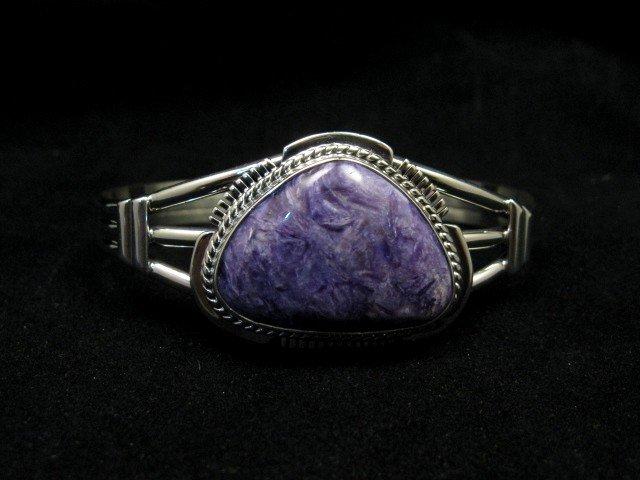 Image 2 of Navajo Native American Purple Charoite Silver Bracelet, Larson L Lee
