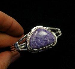 Navajo Native American Purple Charoite Silver Bracelet, Larson L Lee
