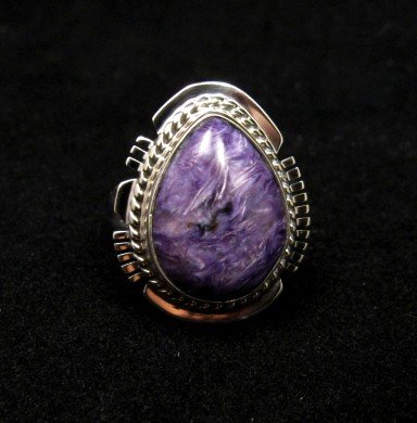 Image 0 of Petite Navajo Native American Charoite Silver Ring sz5-1/2, Larson Lee