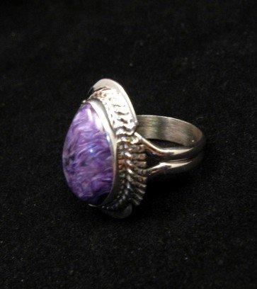 Image 1 of Petite Navajo Native American Charoite Silver Ring sz5-1/2, Larson Lee