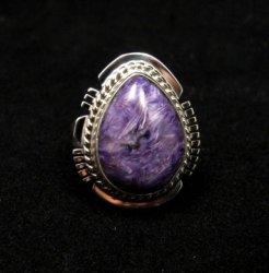 Petite Navajo Native American Charoite Silver Ring sz5-1/2, Larson Lee