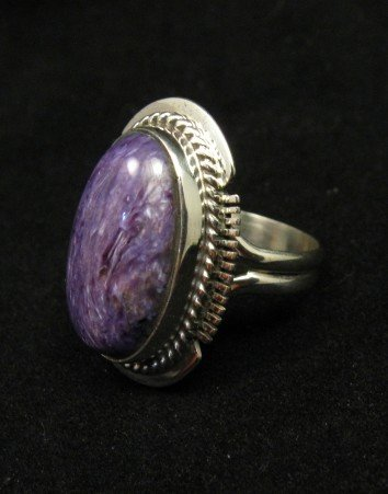 Image 2 of Oval Navajo Native American Charoite Silver Ring sz7, Larson Lee