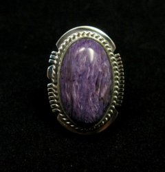 Oval Navajo Native American Charoite Silver Ring sz7, Larson Lee