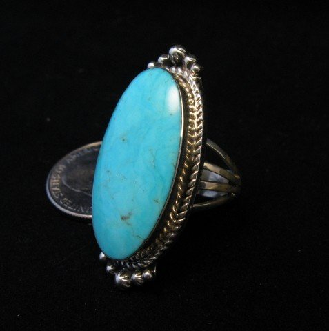 Image 1 of Greg Yazzie Native American Indian Kingman Turquoise Silver Ring sz6-1/2
