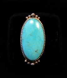 Greg Yazzie Native American Indian Kingman Turquoise Silver Ring sz6-1/2