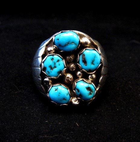 Image 0 of Navajo Indian Turquoise Sterling Silver Ring sz12, Marlene Martinez