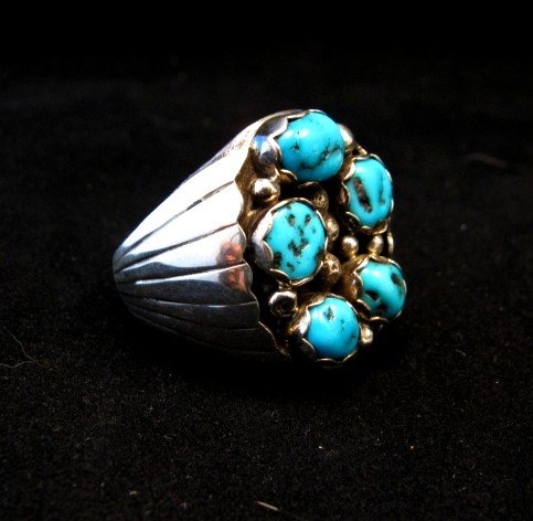 Image 1 of Navajo Indian Turquoise Sterling Silver Ring sz12, Marlene Martinez