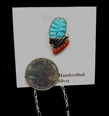 Image 1 of Zuni Native American Carved Turquoise Coral Pendant, Loyolita Othole