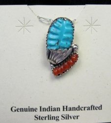 Zuni Native American Carved Turquoise Coral Pendant, Loyolita Othole