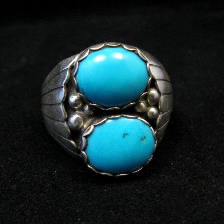 Image 0 of Navajo Native American Double Turquoise Silver Ring sz13-1/2, Marlene Martinez