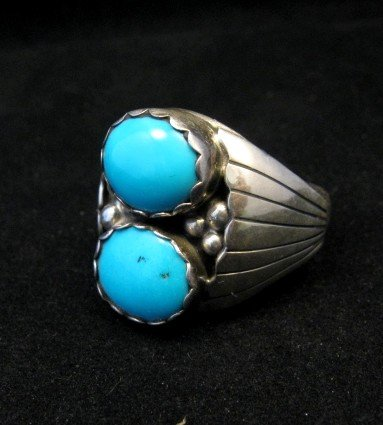 Image 1 of Navajo Native American Double Turquoise Silver Ring sz13-1/2, Marlene Martinez