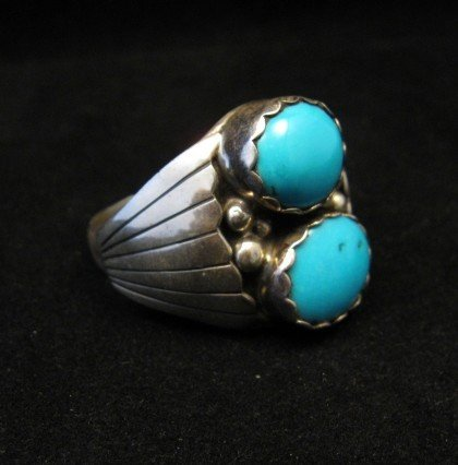 Image 2 of Navajo Native American Double Turquoise Silver Ring sz13-1/2, Marlene Martinez