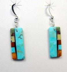 Santo Domingo Indian Turquoise Multi Inlay Earrings, Mary Tafoya