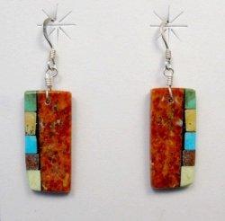 Reversible Santo Domingo Apple Coral Inlay Earrings, Mary Tafoya