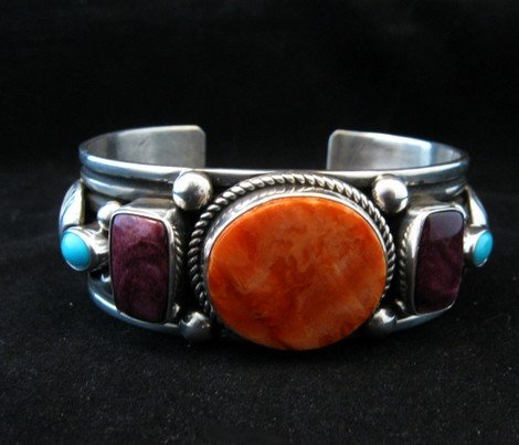 Image 3 of Native American Multistone Sterling Silver Bracelet, Albert Jake, Navajo