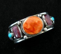 Native American Multistone Sterling Silver Bracelet, Albert Jake, Navajo