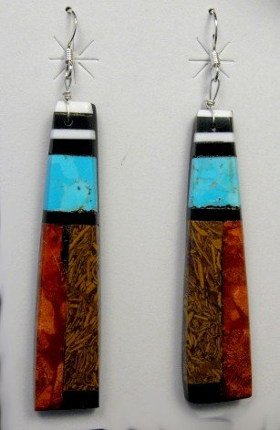 Image 0 of Extra-Long Santo Domingo Kewa Mosaic Inlay Earrings, Delbert Crespin