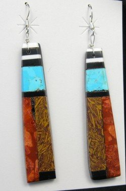 Image 2 of Extra-Long Santo Domingo Kewa Mosaic Inlay Earrings, Delbert Crespin