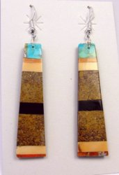 Long Santo Domingo Kewa Multistone Inlay Earrings, Delbert Crespin